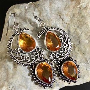 Honey citrine boho chic earrings